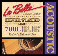 La Bella 700L Комплект посеребренных струн для акустической гитары 009-050