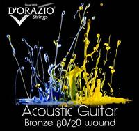 D'ORAZIO 10 Bronze 80/20 Струны для акустических  гитар (10-14-23-30-39-47) (Пр-во Италия)