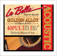 La Bella 40PUL Golden Alloy Комплект струн для акустической гитары, бронза, Ultra Light, 9-48