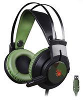 A4 Bloody J450 Наушники с микрофоном, черный/зеленый 1.8м
