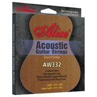 Alice AW332-SL Комплект струн для акустической гитары, посеребренная бронза, 11-52