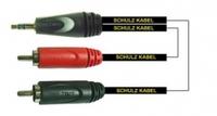 Schulz RCA 30 — 1 м немецкий запрессованный шнур от стерео мини-джека на 2 RCA