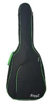 """BaggZ AB-41-7GR Чехол для акустической гитары, 41"""", защитное уплотнение 10мм 600D, цвет черный, зеленая окантовка"""