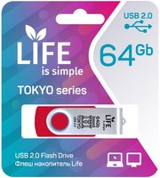 LIFE TOKYO 64GB Red USB 2.0 Флешка