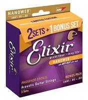 Elixir 16545 NANOWEB Струны для акустической гитары, 3 комплекта, Light, фосфорная бронза, 12-53
