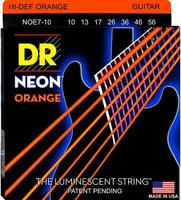 DR NOE7-10 Neon Orange Комплект струн для 7-струнной электрогитары, никелированные, с покр. 10-56