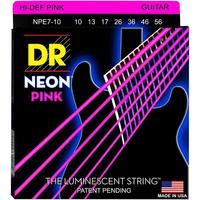 DR NPE7-10 Neon Pink Комплект струн для 7-струнной электрогитары, никелированные, с покр., 10-56