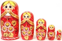 "Хохлома LHM10128 Матрешка ""Ромашка красная"" 5 кукольная"