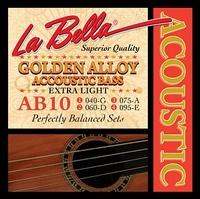 La Bella AB-10 Golden Alloy Комплект струн для акустической бас-гитары, бронза, Extra Light, 40-95