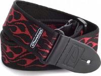 DUNLOP D38-11RD Flambe Red ремень гитарный, черный, тканевый, плетеный, красный орнамент