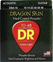 DR DSA-10 Dragon Skin Комплект струн для акустической гитары, фосфорная бронза, с покрытием, 10-48