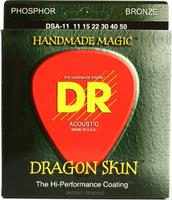 DR DSA-11 Dragon Skin Комплект струн для акустической гитары, фосфорная бронза, с покрытием, 11-50