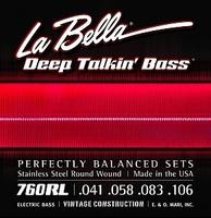 La Bella 760RL Deep Talkin Bass Light Комплект струн для 4-струнной бас-гитары. Тонкий керн и многослойная круглая оплетка из нержавеющей стали. 041 058 083 106
