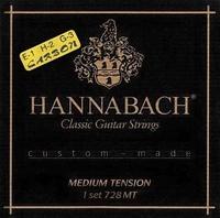 Hannabach 728MTC Custom Made Комплект струн для классической гитары, карбон/посеребренные, среднее натяжение