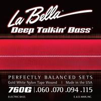 La Bella 760G Gold White Nylon Комплект струн для бас-гитары, бронза/белый нейлон, 60-115