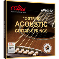 Alice AW4112-SL Комплект струн для 12-струнной акустической гитары, бронза 80/20, 10-47