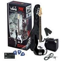VGS RCВ-100 BK набор для начинающего: бас гитара, черная, комбоусилитель, шнур, тюнер, чехол, ремень, 3 медиатора