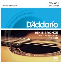 D'ADDARIO EZ910 Набор 6 струн для гитары акустик бронза 011-052