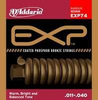D'Addario EXP74 Coated Комплект струн для мандолины, фосфорная бронза, Medium, 11-40