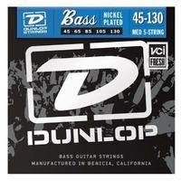 Dunlop DBN45130 Комплект струн для 5-струнной бас-гитары, никелированные, Medium, 45-130