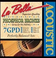 La Bella 7GPD Phosphor Bronze Комплект струн для акустической гитары, ф/б, D to D Tuning, 14-60