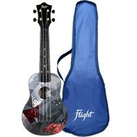 FLIGHT TUS 21P - укулеле Travel, сопрано, черная с рисунком, пластик