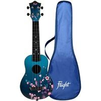 FLIGHT TUS 32 SAKURA - укулеле Travel, сопрано, черная с рисунком, пластик
