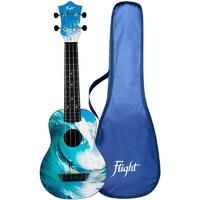 FLIGHT TUS 25 SURF - укулеле Travel, сопрано, черная с рисунком Серфер, пластик
