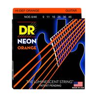 DR NOE-9/46 Neon Orange Комплект струн для электрогитары, никелированные, с покрытием, 9-46