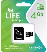 Карта памяти LIFE 4GB MicroSDHC class 10 (с адаптером SD)