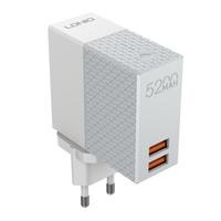 LDNIO PA606 сетевое +Powerbank 5200 mAh/ 2 USB/ Выход: 2.1A, max 10.5W/ Gray&White