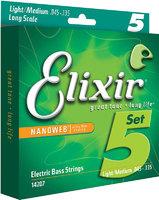 Elixir 14207 NANOWEB Комплект струн для 5-струнной бас-гитары, никелированные, Light/Medium, 45-135