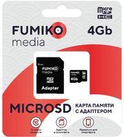 Карта памяти FUMIKO 4GB MicroSDHC class 10 (c адаптером SD)