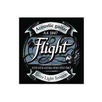 FLIGHT AS1047 струны для акустической гитары, 10-47, натяжение Extra Light, обмотка серебро