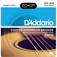 D'Addario EXP16 Coated Phosphor Bronze Комплект струн для акустической гитары, Light, 12-53