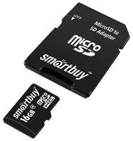 Карта памяти SmartBuy 16GB MicroSDHC class 4 (с адаптером SD)