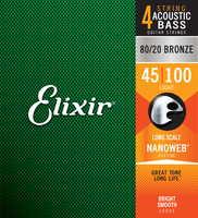 Elixir 14052 NANOWEB Комплект струн для бас-гитары, никелированные, Light, 45-100