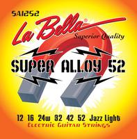 LA BELLA SA1252 SUPER ALLOY 52 КОМПЛЕКТ СТРУН ДЛЯ ЭЛЕКТРОГИТАРЫ, ЖЕЛЕЗО/НИКЕЛЬ, JAZZ LIGHT, 12-52