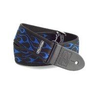 DUNLOP D38-11BL Flambe Blue ремень гитарный, черный, тканевый, голубой орнамент